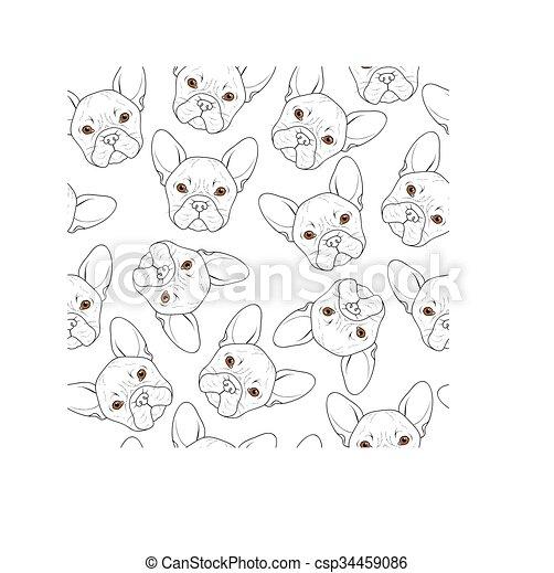 Trasfondo sin costuras con un lindo dibujo de bulldog. Perro realista - csp34459086