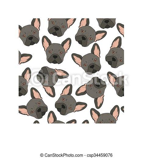 Trasfondo sin costuras con un lindo dibujo de bulldog negro. Perro realista - csp34459076