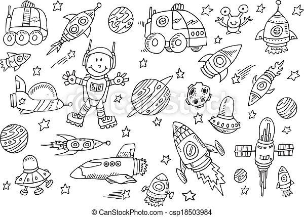 Lindo dibujo espacial vector de garabatos - csp18503984