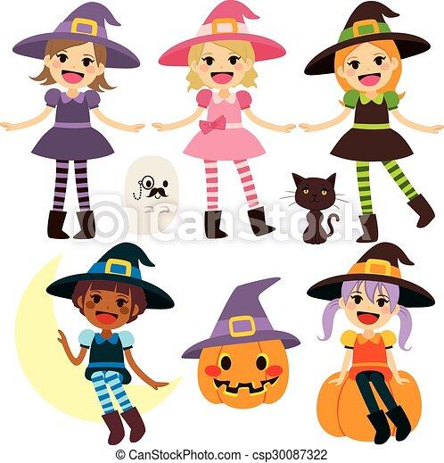 Bonita colección de brujas - csp30087322