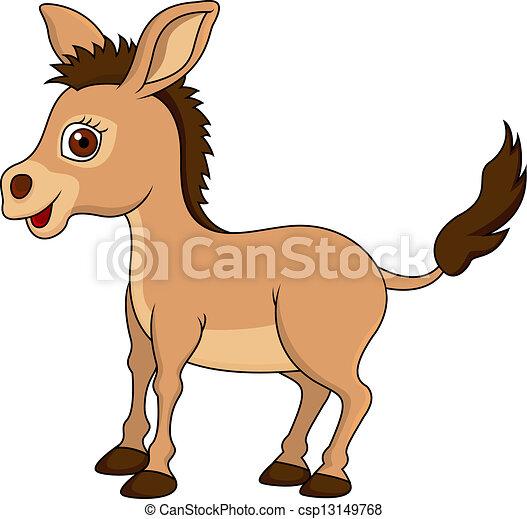 Clip art vectorial de lindo burro caricatura  Vector