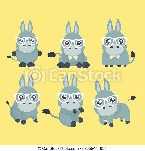 Vector puso mono burro en estilo de dibujos animados. - csp59444834