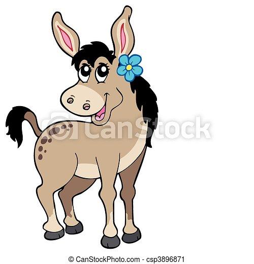 Lindo burro con flor - csp3896871