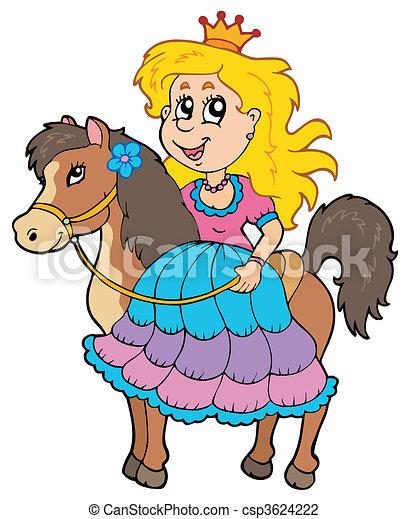Linda princesa montando a caballo - csp3624222