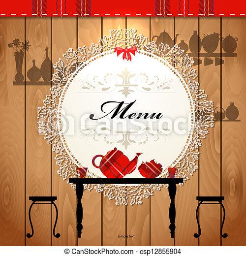 Diseño de tarjetas de menú para un café lindo - csp12855904