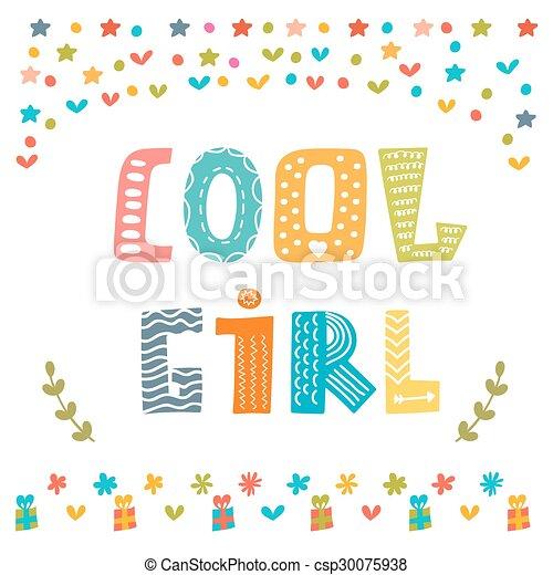 Linda tarjeta de chica. Linda tarjeta de felicitación - csp30075938