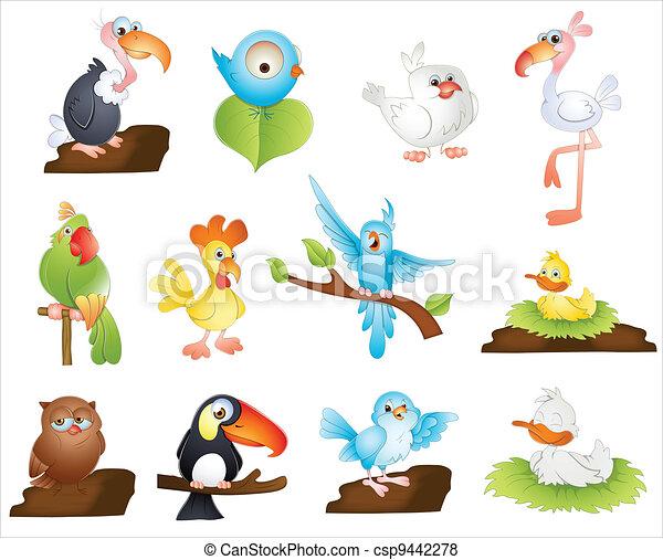 Lindos pájaros de dibujos animados - csp9442278