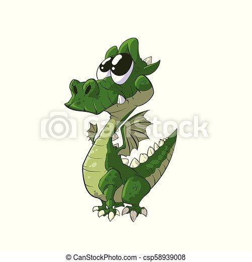 Lindo dragón de dibujos animados - csp58939008