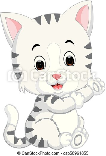 Lindo dibujo de gato - csp58961855