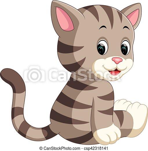Lindo dibujo de gato - csp42318141