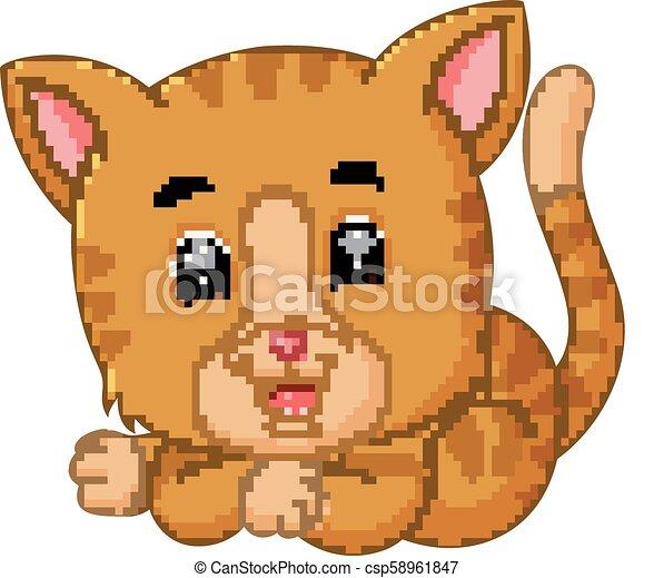 Lindo dibujo de gato - csp58961847