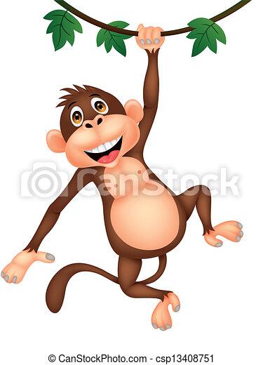 Lindo dibujo animado de mono colgando - csp13408751