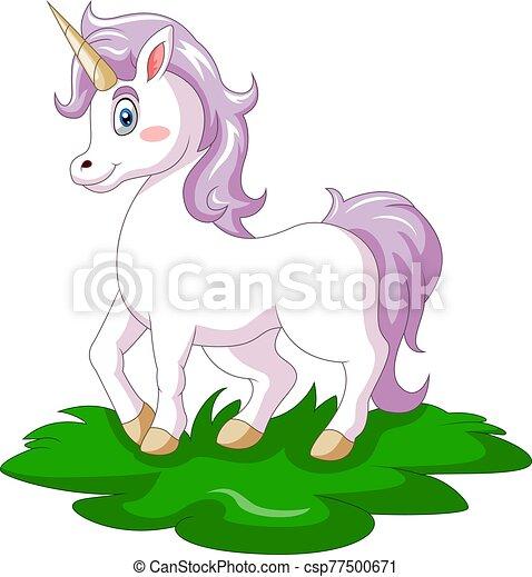 lindo, caricatura, unicornio, feliz - csp77500671