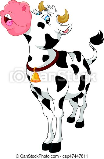 Lindo dibujo de vaca - csp47447811