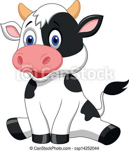 Lindos dibujos animados de vacas sentados - csp14252044