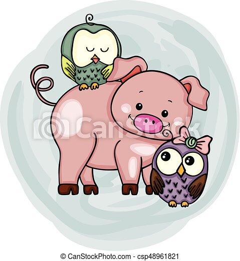 Lindo cerdo con búhos - csp48961821
