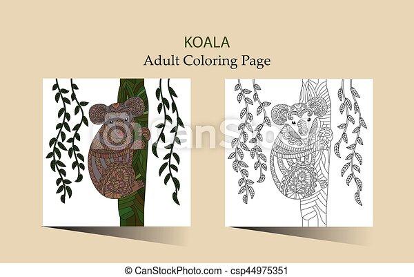 Lindo, colorido, adultos, mano, vector, zentangle, dibujado, koala ...