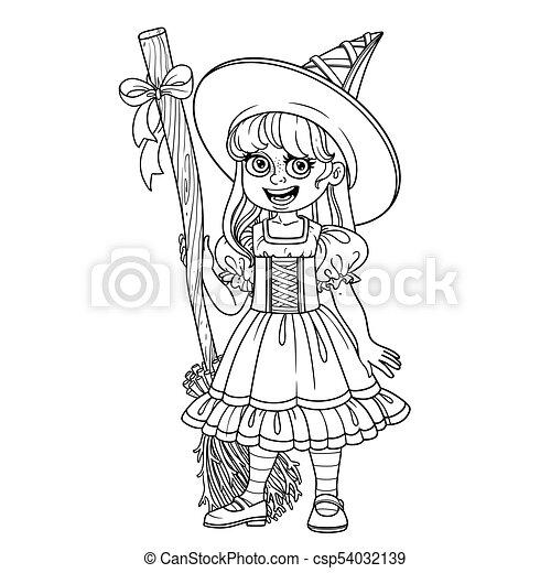 Linda chica disfrazada de bruja para colorear la página - csp54032139