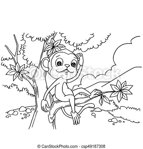 Ilustración de vectores del mono de dibujos animados - csp49187308