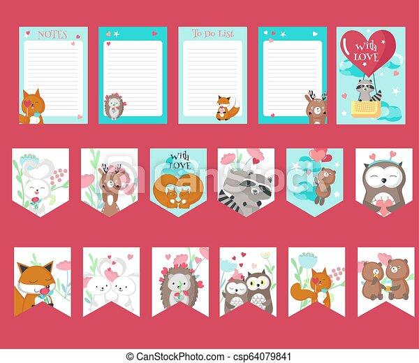 Un juego de cartas de amor con lindos animales - csp64079841