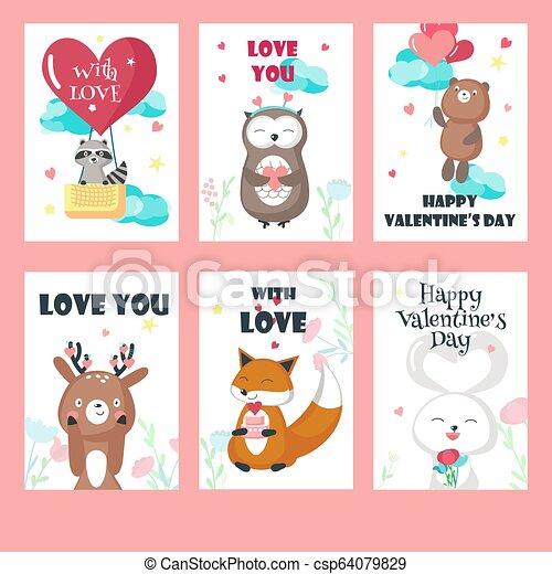 Un juego de cartas de amor con lindos animales - csp64079829