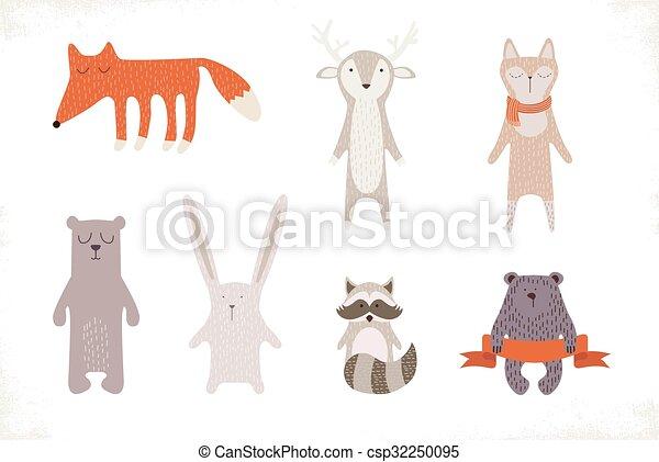 Lindo juego de animales - csp32250095