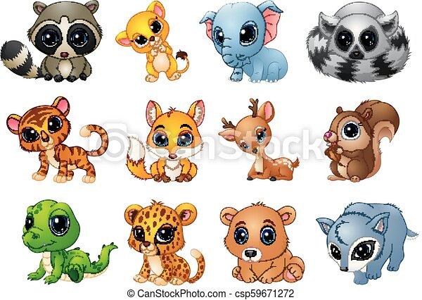 Lindos dibujos animados de animales - csp59671272