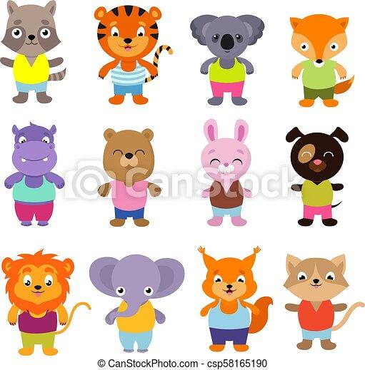 Bonito vector de bebés de dibujos animados - csp58165190