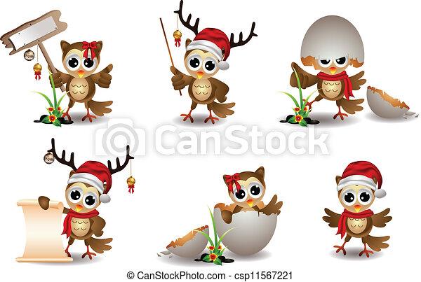 Lindos dibujos animados de Navidad de búho - csp11567221