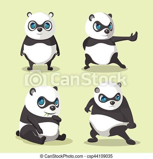 Panda linda colección de personajes marca vector - csp44109035