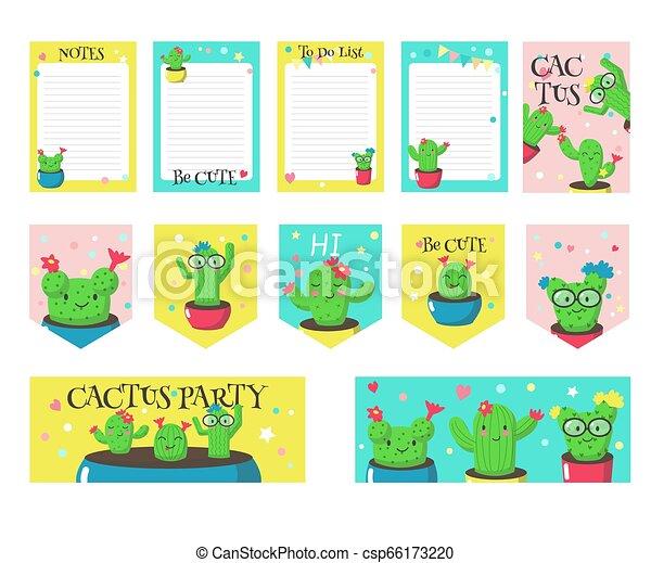 Un juego de cartas con cactus graciosos y comillas - csp66173220