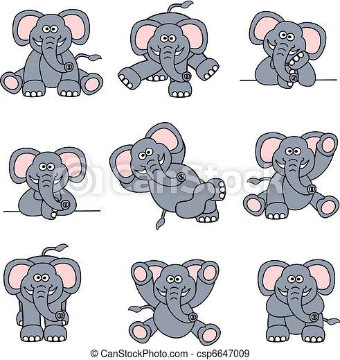 lindo, conjunto, elefante - csp6647009