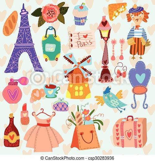 París lindo set (Un conjunto de dibujos animados) - csp30283936