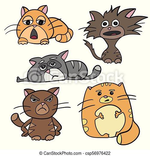 Personajes lindos de gato gordos, enojados, dormilones, loca, triste emoción. Vector - csp56976422