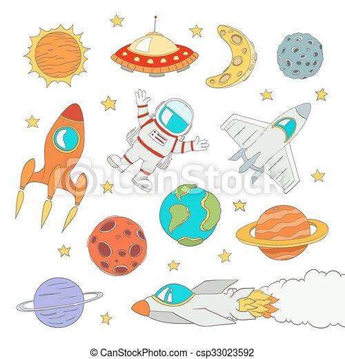 Un conjunto de lindos elementos espaciales, astronautas, planetas, cohetes. Ilustración de vectores - csp33023592