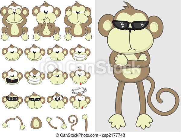 Lindo conjunto de monos - csp2177748