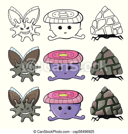 Linda colección de monstruos de dibujos animados. Línea trazada a mano y diseño de colores - csp58496925