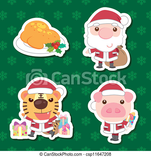 Un lindo juego de dibujos animados de Navidad - csp11647208