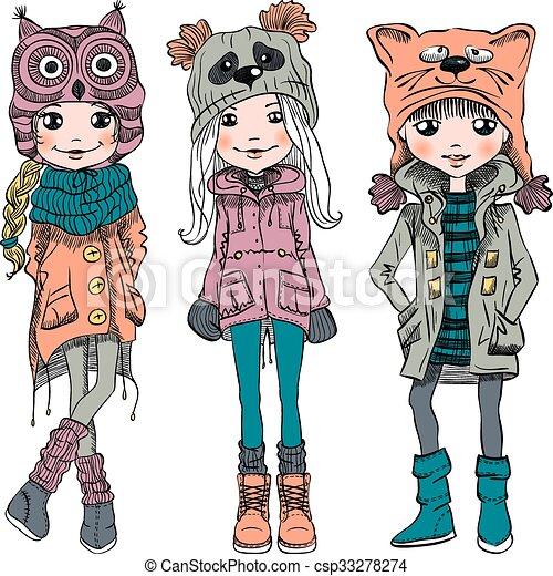 Vector puso chicas lindas con sombreros graciosos - csp33278274