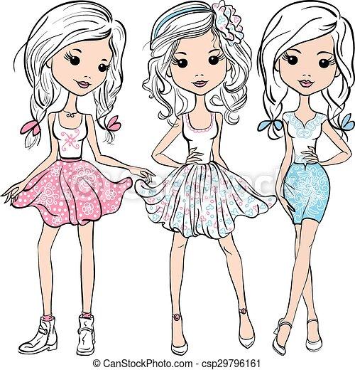 Vector puso a la moda chicas lindas y felices - csp29796161