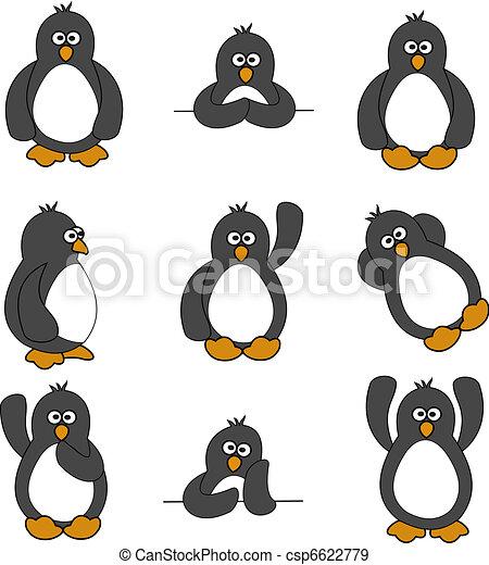 Lindo conjunto de pingüinos - csp6622779