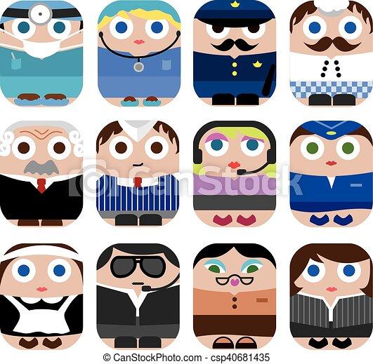 lindo, conjunto, profesión, caricatura, icono - csp40681435