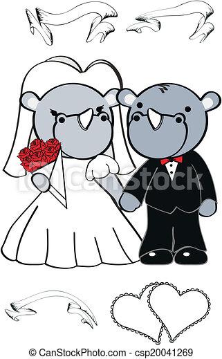 Rhino lindo set de bodas de dibujos animados - csp20041269
