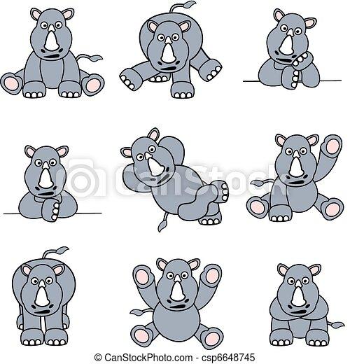 Lindo juego de rinocerontes - csp6648745
