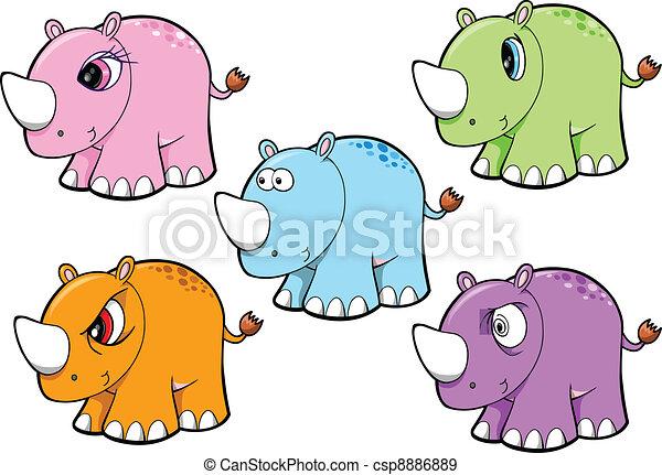 Lindo vector de safari de rinoceronte listo - csp8886889