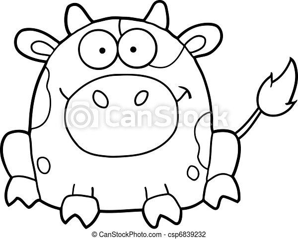 Una linda vaca de dibujos animados - csp6839232