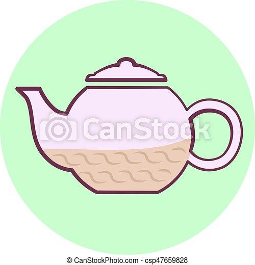 Bonito icono de tetera púrpura, tetera con té - csp47659828