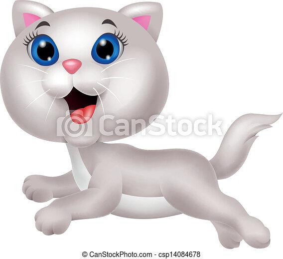 Qué linda caricatura de gatos blancos - csp14084678