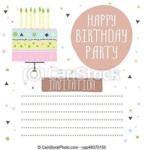 Feliz Cumpleaños Linda Tarjeta De Invitación Con Pastel Y