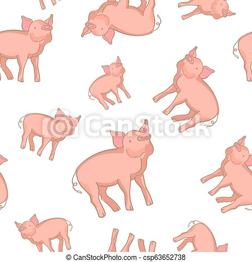 Lindo dibujo de cerdo sin costura, diseño de fondo Vector para tela y decoración - csp63652738